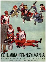 1942 Penn Quakers vs Columbia Lions 36x48 Canvas Historic Football Poster - Mounted Memories
