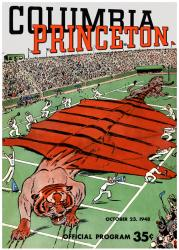 1948 Columbia Lions vs Princeton Tigers 36x48 Canvas Historic Football Poster - Mounted Memories