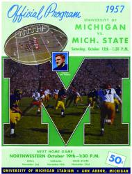 1957 Michigan Wolverines vs Michigan State Spartans 36x48 Canvas Historic Football Program