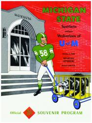 1958 Michigan State Spartans vs Michigan Wolverines 36x48 Canvas Historic Football Program