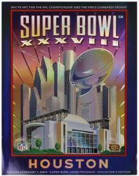 "2004 Patriots vs Panthers 36"" x 48"" Canvas Super Bowl XXXVIII Program"