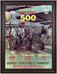 "Framed 36"" x 48"" 8th Annual 1966 Daytona 500 Program Print - Mounted Memories"
