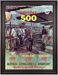 "Framed 36"" x 48"" 8th Annual 1966 Daytona 500 Program Print"