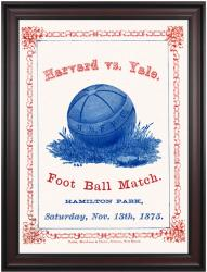 1875 Yale Bulldogs vs Harvard Crimson 36x48 Framed Canvas Historic Football Poster