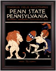 1922 Penn Quakers vs Penn State Nittany Lions 36x48 Framed Canvas Historic Football Poster - Mounted Memories