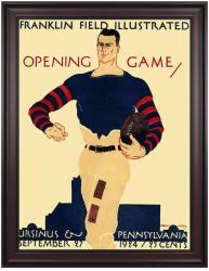 1924 Penn Quakers vs Ursinus Grizzly Bear 36x48 Framed Canvas Historic Football Poster - Mounted Memories
