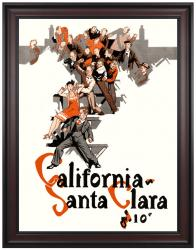 1927 California Bears vs Santa Clara Broncos 36x48 Framed Canvas Historic Football Print