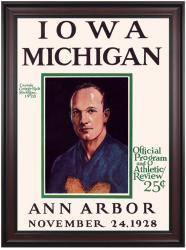 1928 Michigan Wolverines vs Iowa Hawkeyes 36x48 Framed Canvas Historic Football Poster