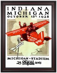 1928 Michigan Wolverines vs Indiana Hoosiers 36x48 Framed Canvas Historic Football Print