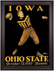 1929 Ohio State Buckeyes vs Iowa Hawkeyes 36x48 Framed Canvas Historic Football Poster