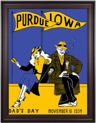 1934 Iowa Hawkeyes vs Purdue Boilermakers 36x48 Framed Canvas Historic Football Poster