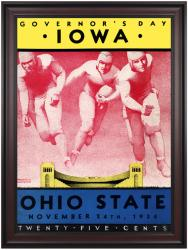 1934 Ohio State Buckeyes vs Iowa Hawkeyes 36x48 Framed Canvas Historic Football Poster