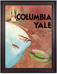 1934 Yale Bulldogs vs Columbia Lions 36x48 Framed Canvas Historic Football Poster - Mounted Memories