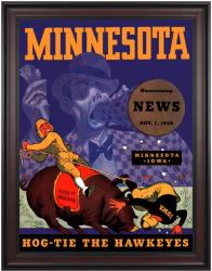 1936 Minnesota Golden Gophers vs Iowa Hawkeyes 36x48 Framed Canvas Historic Football Poster