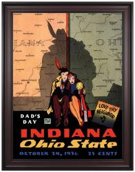 1936 Ohio State Buckeyes vs Indiana Hoosiers 36x48 Framed Canvas Historic Football Print