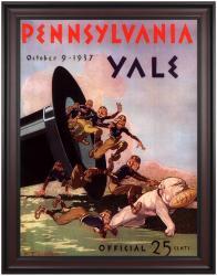 1937 Yale Bulldogs vs Penn Quakers 36x48 Framed Canvas Historic Football Poster