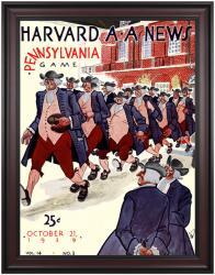 1939 Harvard Crimson vs Penn Quakers 36x48 Framed Canvas Historic Football Poster