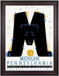 1939 Penn Quakers vs Michigan Wolverines 36x48 Framed Canvas Historic Football Poster - Mounted Memories