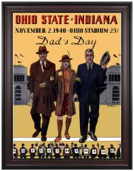 1940 Ohio State Buckeyes vs Indiana Hoosiers 36x48 Framed Canvas Historic Football Print