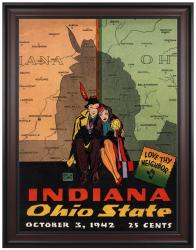 1942 Ohio State Buckeyes vs Indiana Hoosiers 36x48 Framed Canvas Historic Football Print