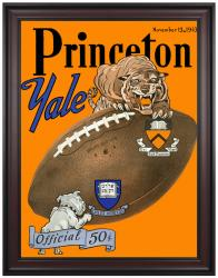 1943 Yale Bulldogs vs Princeton Tigers 36x48 Framed Canvas Historic Football Program