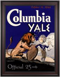 1944 Yale Bulldogs vs Columbia Lions 36x48 Framed Canvas Historic Football Poster