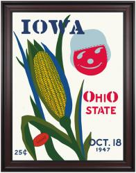 1947 Ohio State Buckeyes vs Iowa Hawkeyes 36x48 Framed Canvas Historic Football Poster