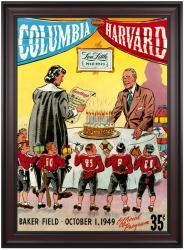 1949 Columbia Lions vs Harvard Crimson 36x48 Framed Canvas Historic Football Poster - Mounted Memories