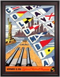 1950 Columbia Lions vs Navy Midshipmen 36x48 Framed Canvas Historic Football Poster
