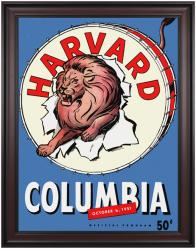 1951 Columbia Lions vs Harvard Crimson 36x48 Framed Canvas Historic Football Poster - Mounted Memories