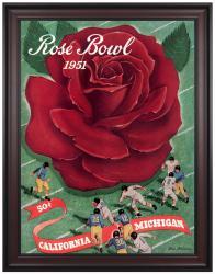 1951 Michigan Wolverines vs California Bears 36x48 Framed Canvas Historic Football Print