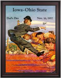 1957 Ohio State Buckeyes vs Iowa Hawkeyes 36x48 Framed Canvas Historic Football Poster