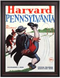 1958 Harvard Crimson vs Penn Quakers 36x48 Framed Canvas Historic Football Poster - Mounted Memories