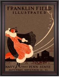 1921 Penn State Nittany Lions vs Navy Midshipmen 36x48 Framed Canvas Historic Football Poster