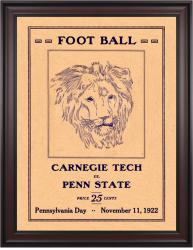 1922 Penn State Nittany Lions vs Carnegie Tech  36x48 Framed Canvas Historic Football Poster