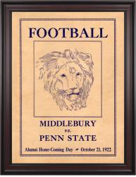 1922 Penn State Nittany Lions vs Middlebury 36x48 Framed Canvas Historic Football Poster