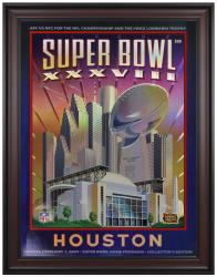 "2004 Patriots vs Panthers 36"" x 48"" Framed Canvas Super Bowl XXXVIII Program"