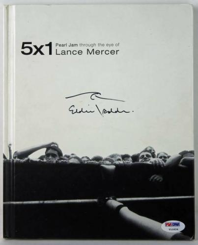 Eddie Vedder Signed 5X1 Lance Mercer Pearl Jam Book W/ Wave Sketch PSA #V10624