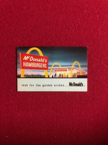 "1960's, McDonald's (Slash Logo), ""Free Hamburger / French Fries"" Card (Scarce)"