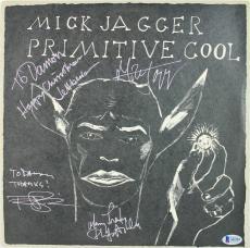 (4) Jagger, Beck, Ashley Signed Primitive Cool Album Cover W/ Vinyl BAS #A11519