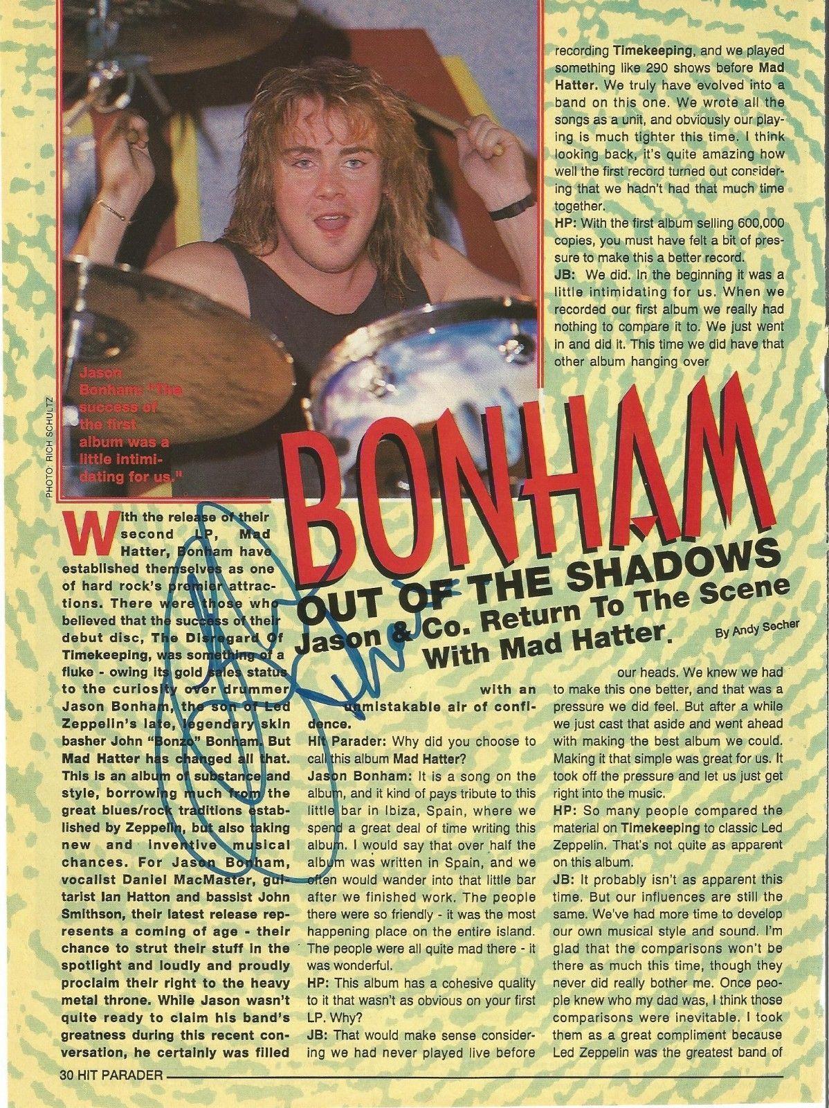 Jason Bonham Led Zeppelin Music Legend Signed Autograph 8x10 Magazine Page Coa H