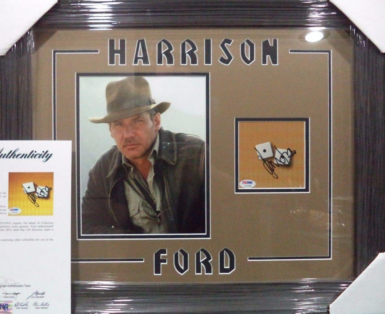 Harrison Ford Indiana Jones Psa/dna Loa Signed Autograph Double Matted & Framed
