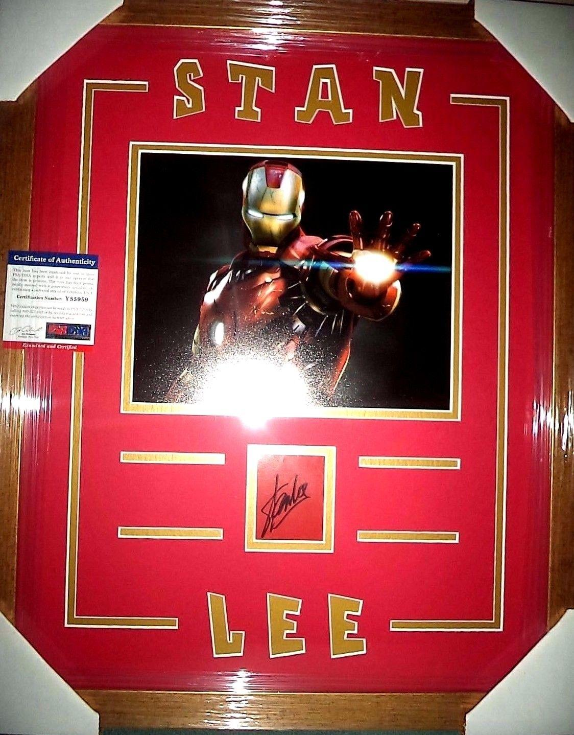 Stan Lee Iron Man Signed Autograph Double Matted & Framed 8x10 Psa/dna Coa Rare
