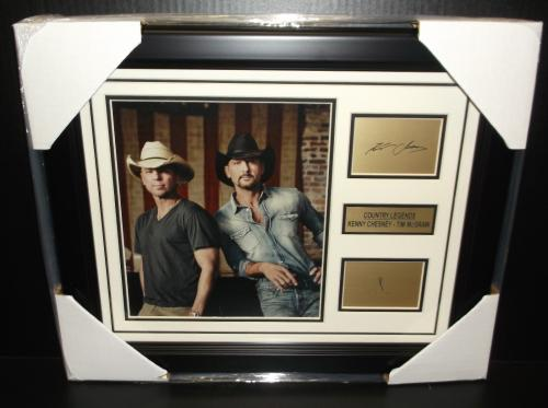 73a659694fa Tim Mcgraw Kenny Chesney Country Legends Laser Signature 8x10 Photo Framed