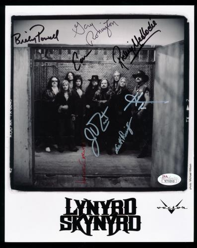 Lynyrd Skynyrd 8x10 Autograph Full Band Photo Rossington Van Zant Powell **jsa**