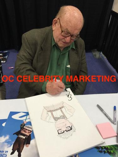 "ED ASNER Signed CARL DISNEY'S ""UP"" Hand Drawn RICK FARMILOE Sketch PSA/DNA COA B"