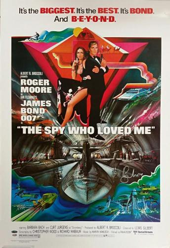 ROGER MOORE Signed 24x36 The Spy Who Loved Me Replica Movie Poster PSA/DNA COA