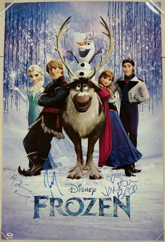 DISNEY FROZEN Cast (3) Signed 24x36 Movie Poster Bell + Menzel + Gad w/ PSA/DNA