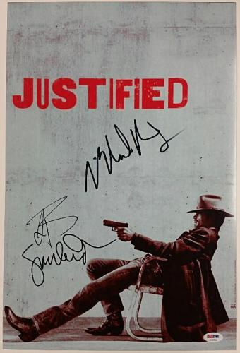 JUSTIFIED Cast Signed 12x18 Photo Buckley + Anderson + Rapaport PSA/DNA COA