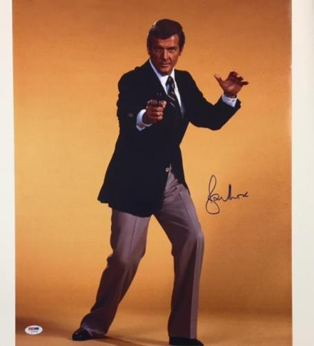 SIR ROGER MOORE Signed 007 James Bond 16x20 Photo #1 PSA/DNA COA Autograph Auto